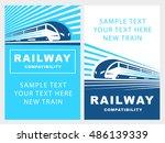 train poster illustration on... | Shutterstock .eps vector #486139339
