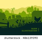 farm illustration background ... | Shutterstock .eps vector #486139390