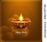 abstract religious happy diwali ... | Shutterstock .eps vector #486149740