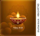 abstract religious happy diwali ...   Shutterstock .eps vector #486149740