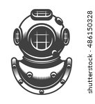vintage nautical diving helmet... | Shutterstock .eps vector #486150328