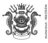 monochrome diving label emblem. ... | Shutterstock .eps vector #486150346