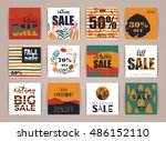 set of artistic creative autumn ... | Shutterstock .eps vector #486152110
