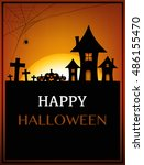 happy halloween background ... | Shutterstock .eps vector #486155470