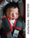baby sleeping in car seat    Shutterstock . vector #486157240