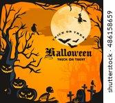 halloween background. horror... | Shutterstock .eps vector #486158659