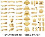 Banner gold vector icon set on white background. Ribbon isolated shapes illustration of gift and accessory. Christmas sticker and decoration for app and web. Label, badge and borders collection. | Shutterstock vector #486159784