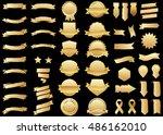 banner gold vector icon set on... | Shutterstock .eps vector #486162010