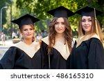 portrait of three happy... | Shutterstock . vector #486165310