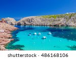 cala morell cove with its red... | Shutterstock . vector #486168106