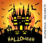 halloween illustration with... | Shutterstock .eps vector #486168670