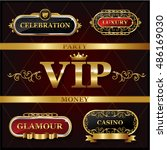vintage golden vip and luxury... | Shutterstock .eps vector #486169030