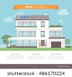 contemporary eco house  with...   Shutterstock .eps vector #486170224