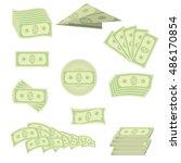 vector set of paper dollars... | Shutterstock .eps vector #486170854