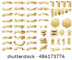 banner gold vector icon set on... | Shutterstock .eps vector #486173776