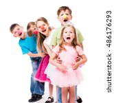 laughing children with clown... | Shutterstock . vector #486176293