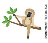 gibbon sitting on branch animal ... | Shutterstock .eps vector #486183568
