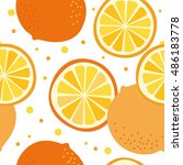 vector pattern with oranges | Shutterstock .eps vector #486183778