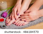 close up of woman with pedicure ...   Shutterstock . vector #486184570