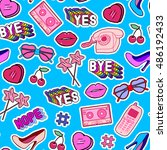 seamless pattern with patches ... | Shutterstock .eps vector #486192433