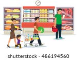 people buy products at the... | Shutterstock .eps vector #486194560