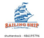 sailing ship illustration on... | Shutterstock .eps vector #486195796