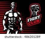 fighter emblem illustration on...   Shutterstock .eps vector #486201289