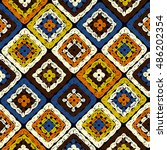 granny squares pattern and... | Shutterstock .eps vector #486202354