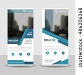 blue business roll up banner...   Shutterstock .eps vector #486206368