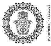 hamsa hand drawn symbol in... | Shutterstock .eps vector #486211318