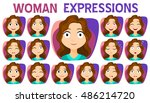 girl with different facial... | Shutterstock .eps vector #486214720