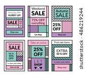 flat design sale website... | Shutterstock .eps vector #486219244