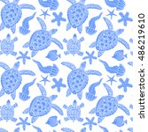 hand drawn pattern with turtles ... | Shutterstock .eps vector #486219610