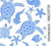 hand drawn pattern with turtles ...   Shutterstock .eps vector #486219739