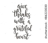 give thanks with a grateful... | Shutterstock .eps vector #486223030