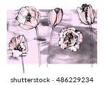 Tulip Set. Realistic Hand Draw...