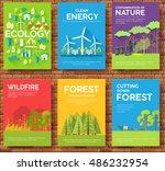 ecology information cards set.... | Shutterstock .eps vector #486232954