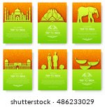 set of india country ornament... | Shutterstock .eps vector #486233029