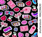 seamless pattern with patches ... | Shutterstock .eps vector #486238630