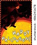 happy halloween card. vector... | Shutterstock .eps vector #486241678