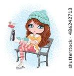 cute girl vector design   Shutterstock .eps vector #486242713