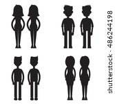 twins together silhouette set | Shutterstock .eps vector #486244198