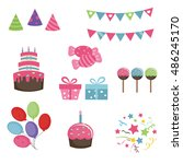 set of birthday icons on white... | Shutterstock .eps vector #486245170