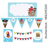 set of birthday party elements... | Shutterstock .eps vector #486245263