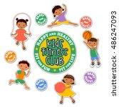 active children playing sports. ... | Shutterstock .eps vector #486247093