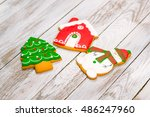 christmas colorful gingerbread...   Shutterstock . vector #486247960