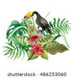 raster colorful set of toucan... | Shutterstock . vector #486253060