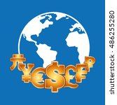 global economy planet concept... | Shutterstock .eps vector #486255280