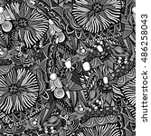 art seamless black and white... | Shutterstock . vector #486258043