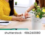 two business woman or friends... | Shutterstock . vector #486260080